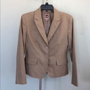 Ann Klein Beige/Tan 2 Button Blazer 6p